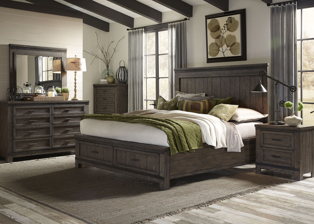 Liberty Thornwood Hills Bedroom King Storage Bed, Dresser, Mirror, and Night Stand Collection-759-BR-KSBDMN