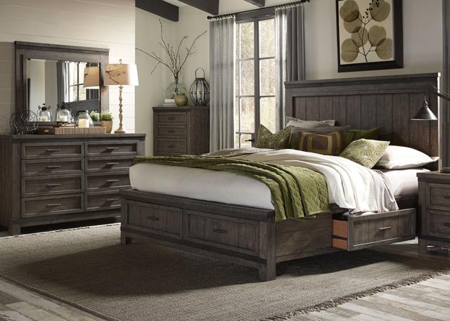 Liberty Furniture Thornwood Hills 4 Piece Rock Beaten Gray Queen Two Sided Storage Panel Bedroom Set-759-BR-Q2SDMC