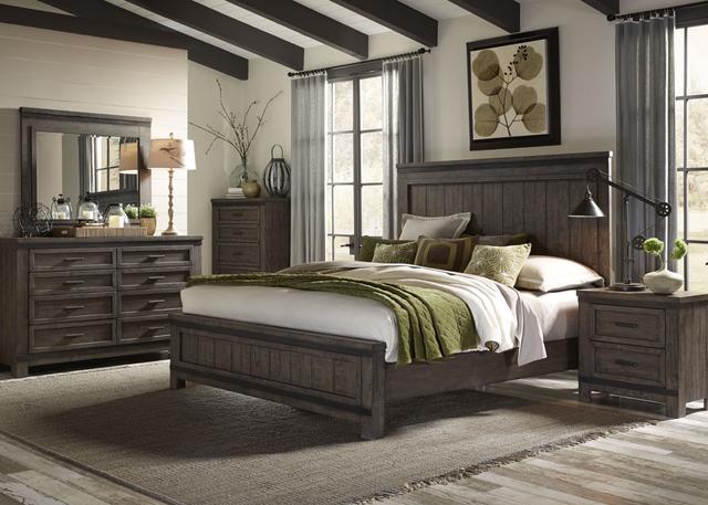 Liberty Furniture Thornwood Hills 5 Piece Rock Beaten Gray Queen Panel Storage Bedroom Set-759-BR-QPBDMCN