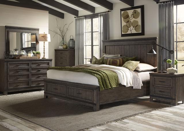 Liberty Furniture Thornwood Hills 5 Piece Rock Beaten Gray Queen Panel Storage Bedroom Set-759-BR-QSBDMCN