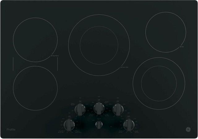 """GE Profile™ Series 30"""" Black Electric Cooktop-PP7030DJBB"""