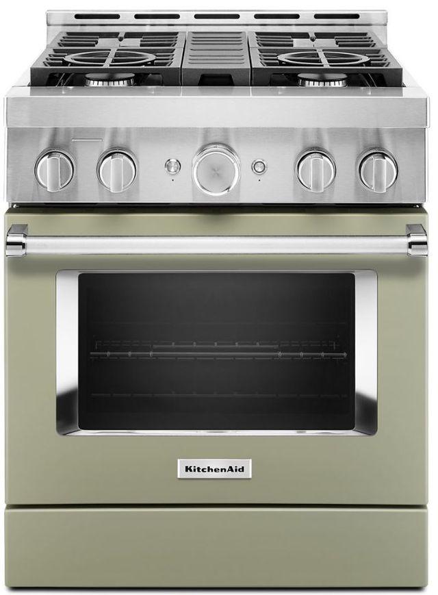 "KitchenAid® 30"" Avocado Cream Smart Commercial-Style Gas Range-KFGC500JAV"