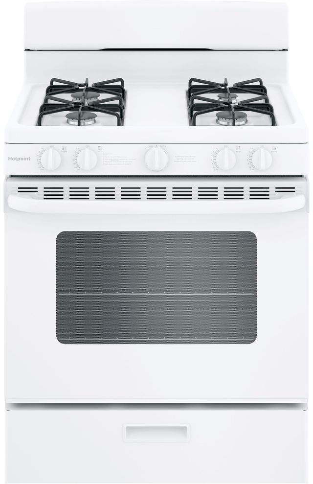"""Hotpoint® 30"""" White Free Standing Gas Range-RGBS200DMWW"""