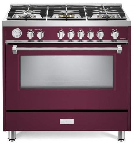 "Verona Designer Series 36"" Burgundy Free Standing Gas Range-VDFSGG365BU"