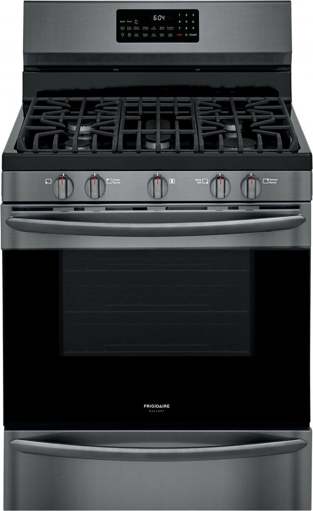 """Frigidaire Gallery® 30"""" Black Stainless Steel Free Standing Gas Range with Air Fry-GCRG3060AD"""