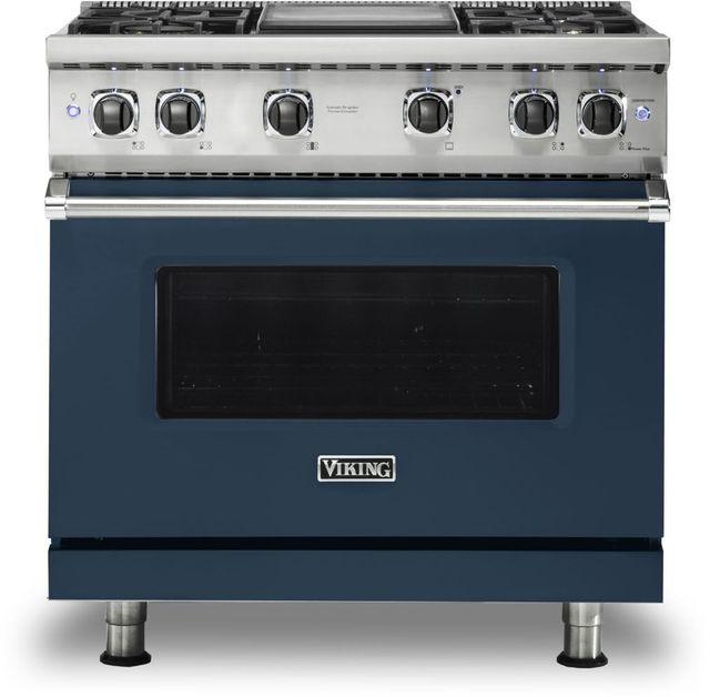 "Viking® 5 Series 36"" Slate Blue Pro Style Natural Gas Range with 12"" Griddle-VGR5364GSB"