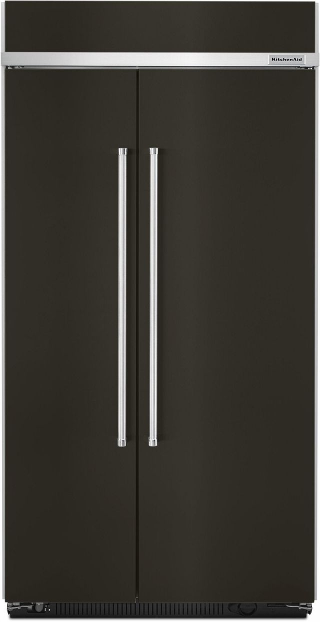 KitchenAid® 25.48 Cu. Ft. Black Stainless Steel Built In Side-By-Side Refrigerator-KBSN602EBS