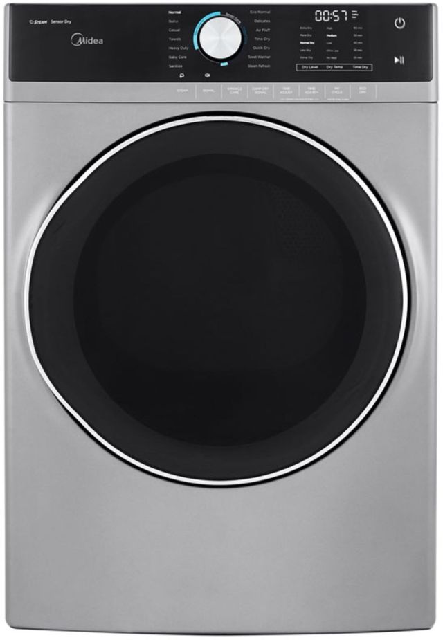 Midea® 8.0 Cu. Ft. Graphite Steel Front Load Electric Dryer-MLE52S7AGS
