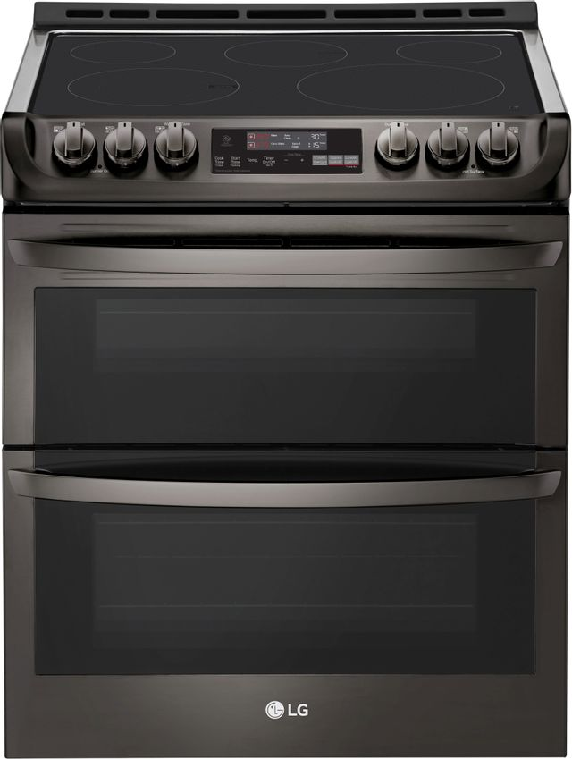 """LG 30"""" Black Stainless Steel Slide In Electric Double Oven Range-LTE4815BD"""
