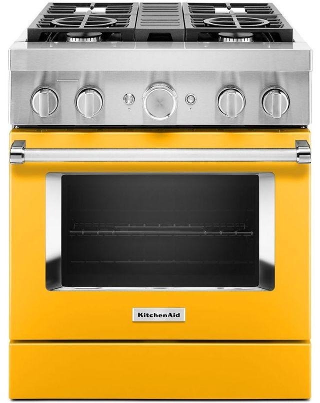 Cuisinière bicombustible intelligente style commercial de 30 po KitchenAid® de 4,1 pi³ - Poivron jaune-KFDC500JYP