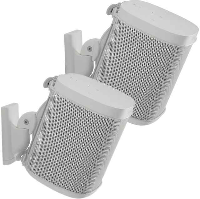Sanus WSWM22-W1 Adjustable Wall Mount for Sonos ONE, Play:1, Play:3 Pair White-WSWM22-W1