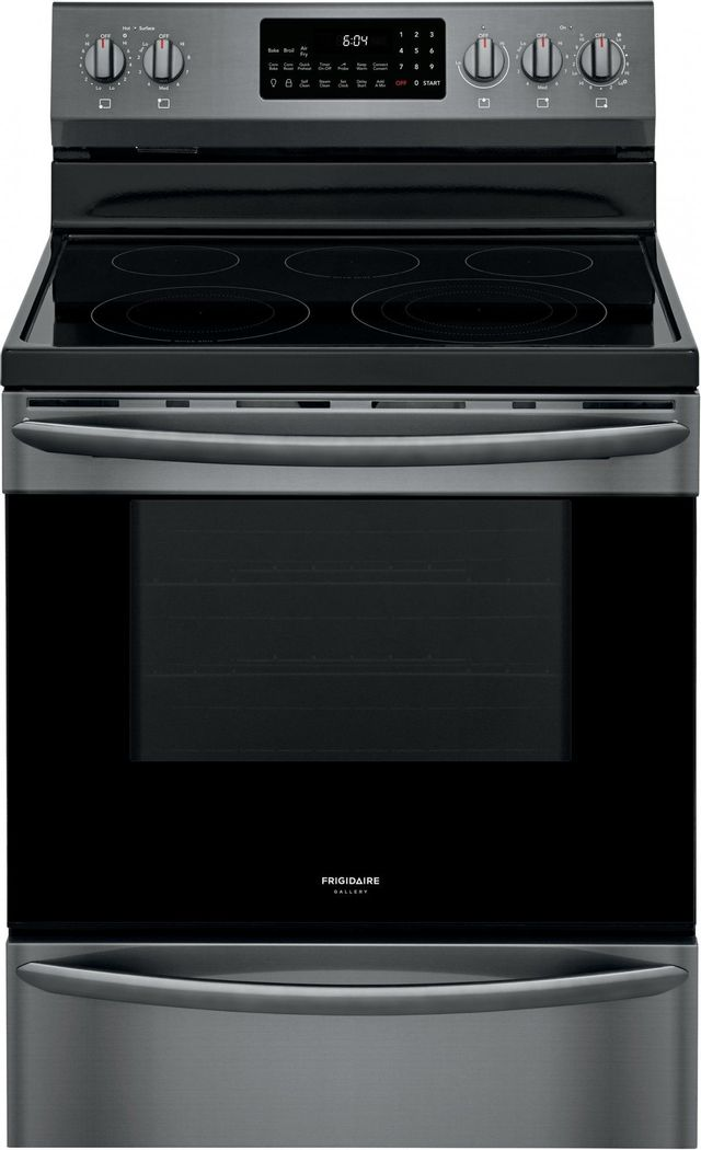 """Frigidaire Gallery® 30"""" Black Stainless Steel Free Standing Electric Range with Air Fry-GCRE3060AD"""