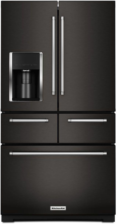 KitchenAid® 25.76 Cu. Ft. Black Stainless Steel with PrintShield™ Finish French Door Refrigerator-KRMF706EBS