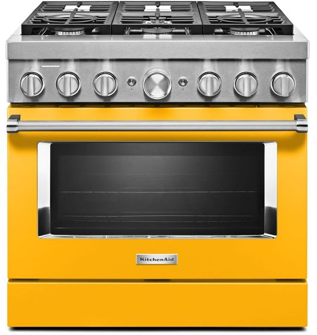 """KitchenAid® 36"""" Yellow Pepper Commercial-Style Free Standing Dual Fuel Range-KFDC506JYP"""