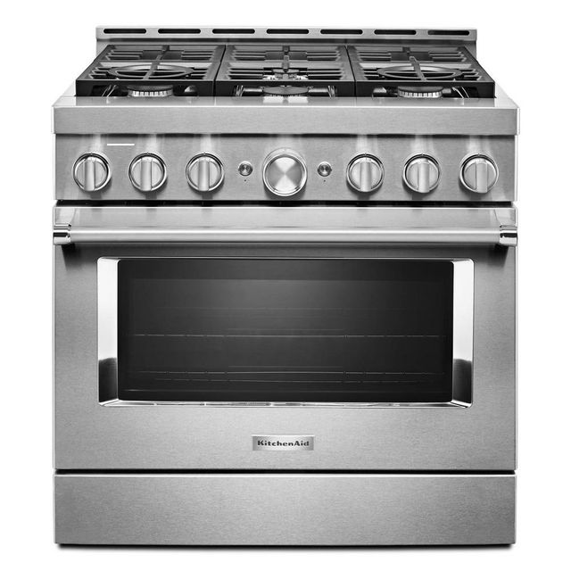 Cuisinière à gaz intelligente style commercial de 36 po KitchenAid® de 5,1 pi³ - Acier inoxydable-KFGC506JSS