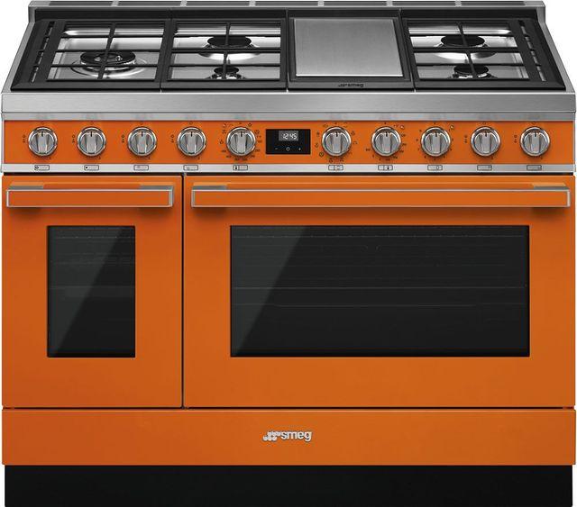 """Smeg Portofino Aesthetic 48"""" Orange Pro Style Dual Fuel Natural Gas Range-CPF48UGMOR"""