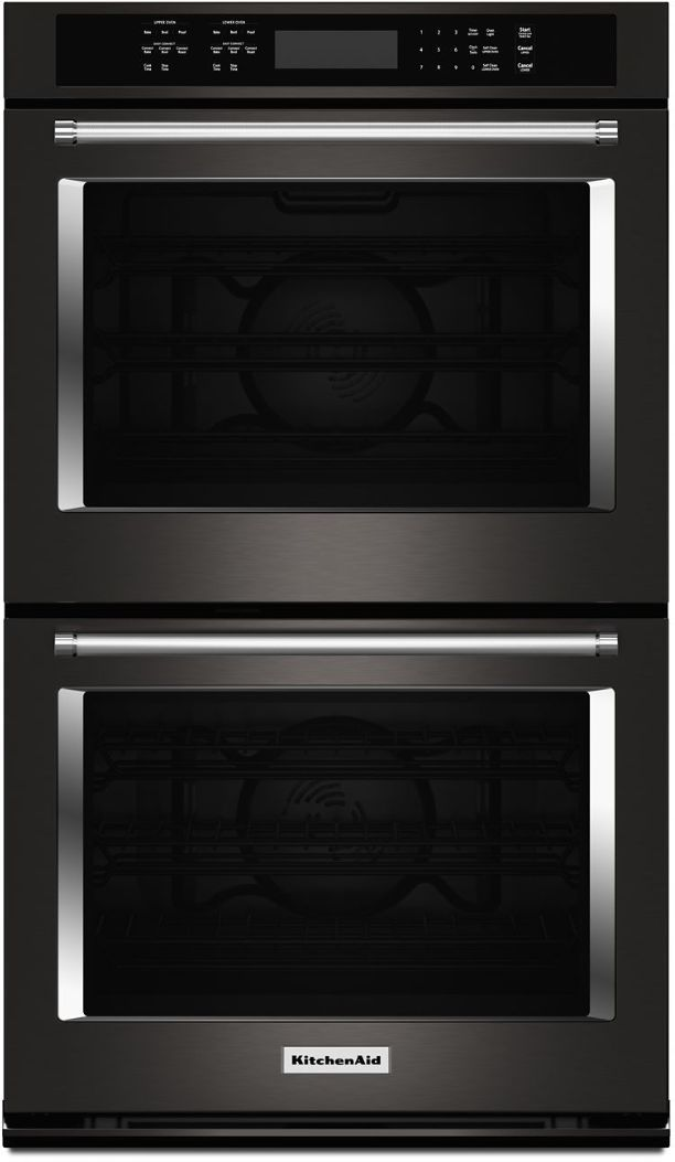 """KitchenAid® 30"""" Black Stainless Steel with PrintShield™ Finish Electric Double Oven Built In-KODE500EBS"""