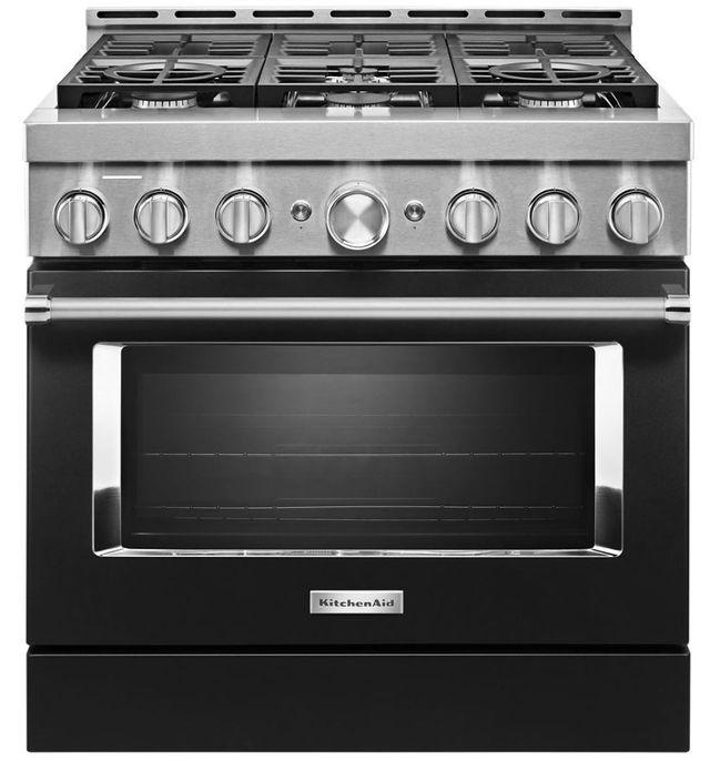 "KitchenAid® 36"" Imperial Black Smart Commercial-Style Gas Range-KFGC506JBK"