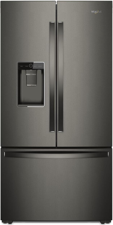 Whirlpool® 23.8 Cu. Ft. Counter Depth French Door Refrigerator-Fingerprint Resistant Black Stainless-WRF954CIHV