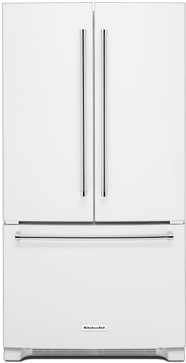 KitchenAid® 20 Cu. Ft. White Counter Depth French Door Refrigerator-KRFC300EWH