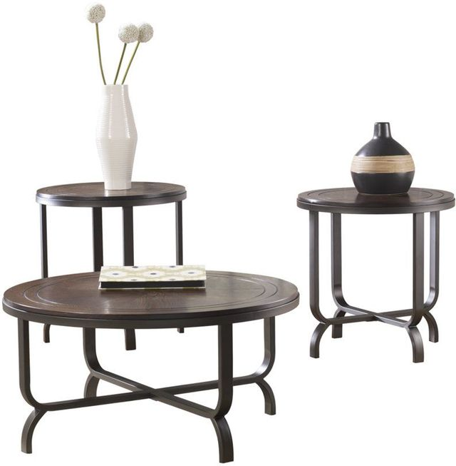 Signature Design by Ashley® Ferlin Dark Brown 3 Piece Occasional Table Set-T238-13