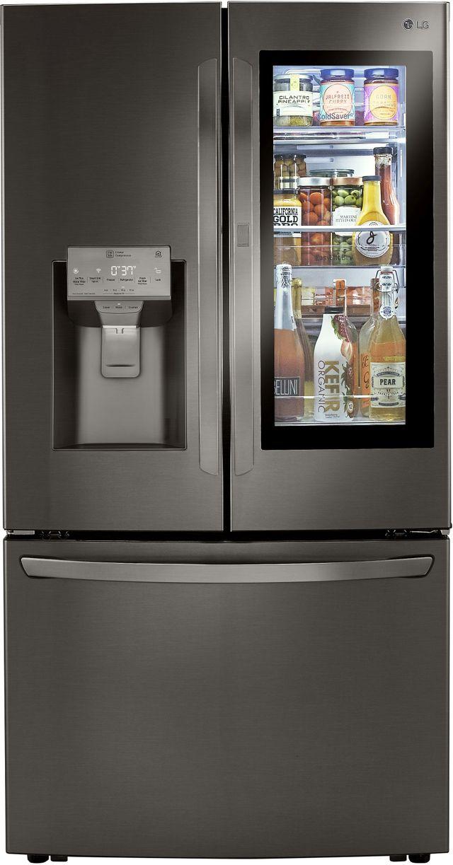 Réfrigérateur à portes françaises à profondeur de comptoir de 36 po LG® de 23,5 pi³ - Acier inoxydable noir résistant aux traces de doigts-LRFVC2406D
