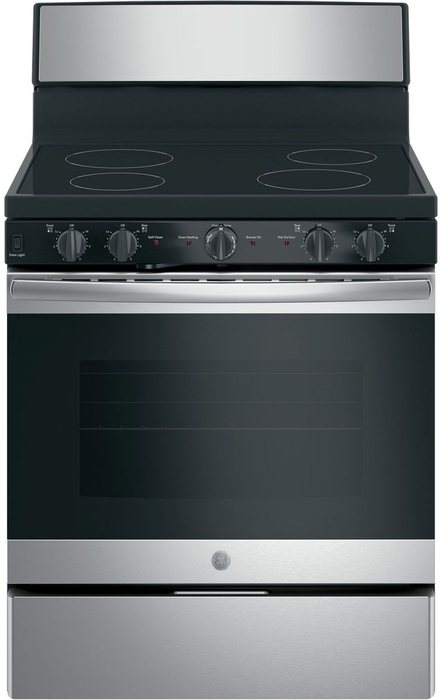"""GE® 30"""" Free Standing Electric Range-Stainless Steel-JB480SMSS"""