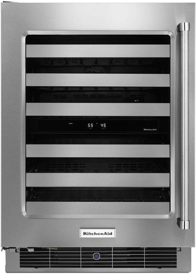 "KitchenAid® 23.75"" Stainless Steel Frame Wine Cellar-KUWL304ESS"