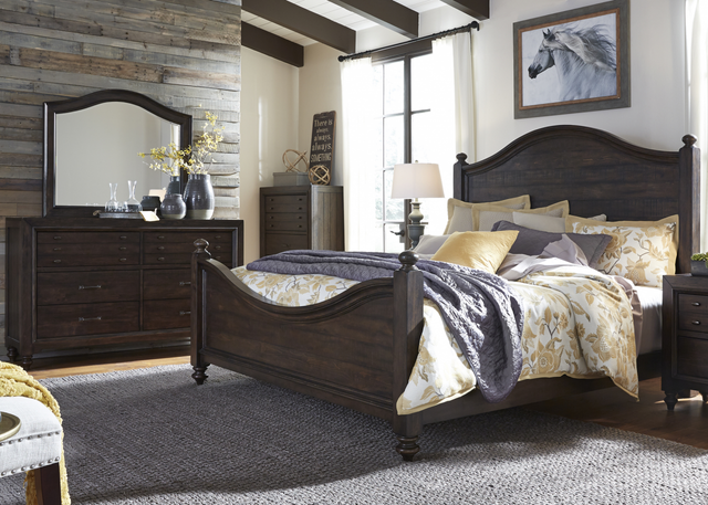 Liberty Catawba Hills Bedroom King Poster Bed, Dresser, Mirror, and Chest Collection-816-BR-KPSDMC