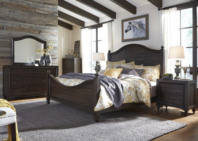 Liberty Catawba Hills Bedroom King Poster Bed, Dresser, Mirror, and Night Stand Collection-816-BR-KPSDMN