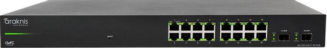 SnapAV Araknis Networks® 310 Series Black 16+2 Front Ports L2 Managed Gigabit Switch with Full PoE+-AN-310-SW-F-16-POE