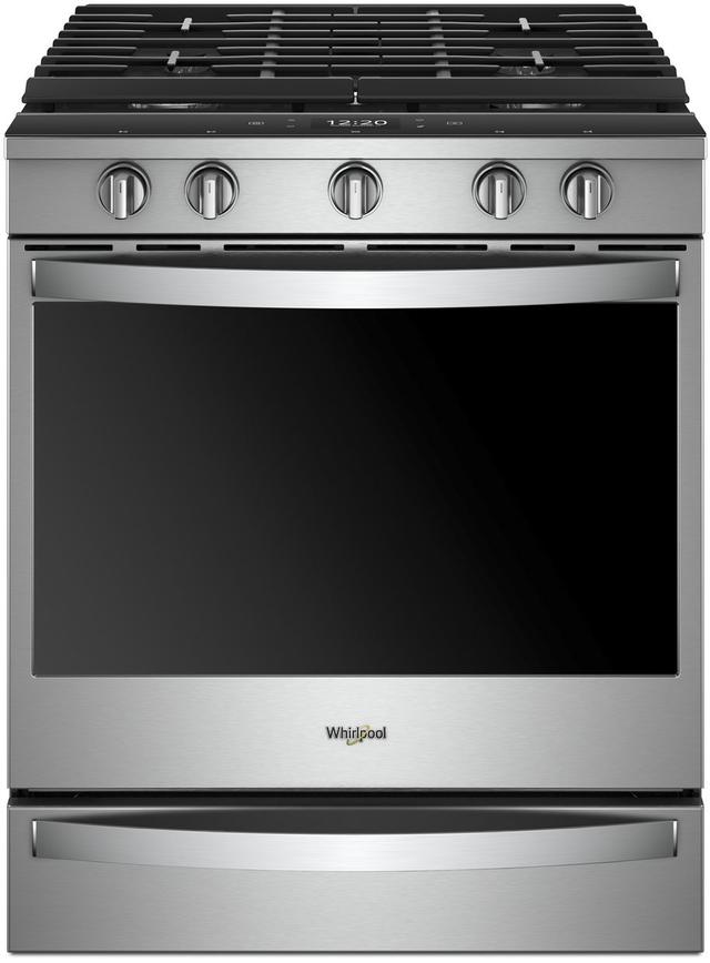 """Whirlpool® 30"""" Smart Slide-In Gas Range - Fingerprint-Resistant Stainless Steel-WEG750H0HZ"""