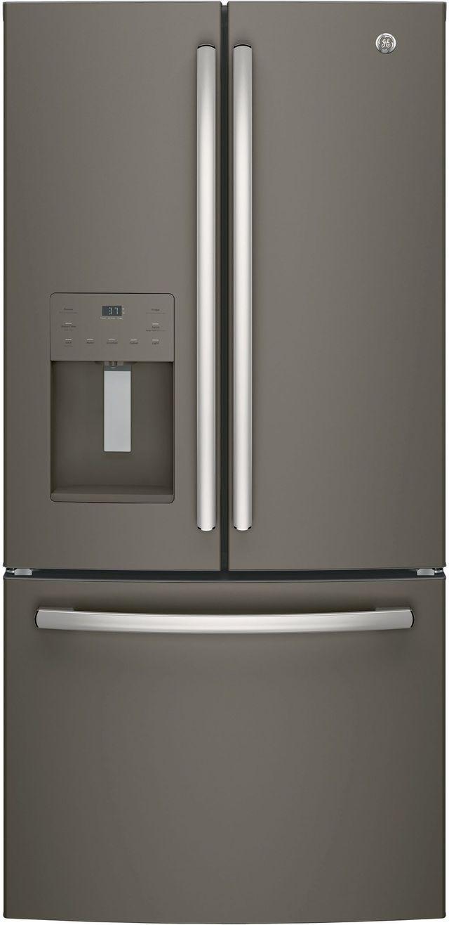 GE® 17.5 Cu. Ft. Counter Depth French Door Refrigerator-Slate-GYE18JMLES