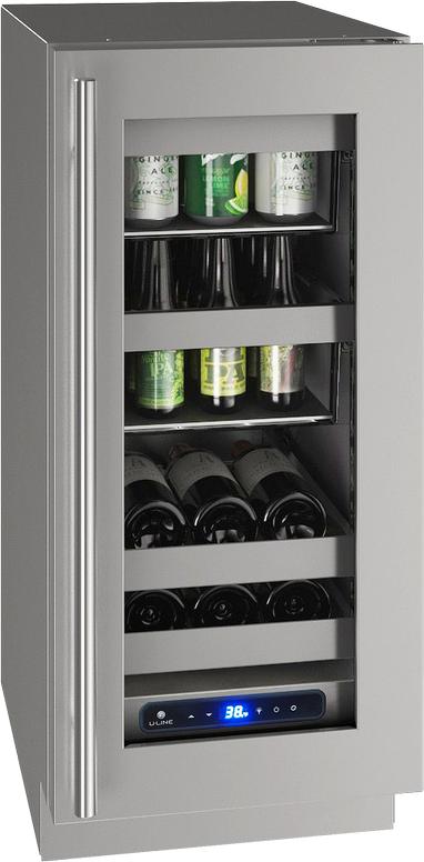 "U-Line® 15"" Stainless Frame Beverage Center-UHBV515-SG01A"