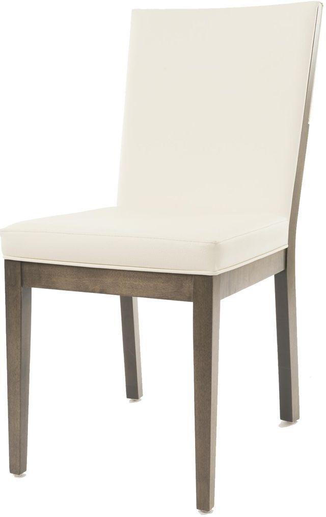 Chaise d'appoint en tissu brun foncé/blanc cassé VieBois®-C-105