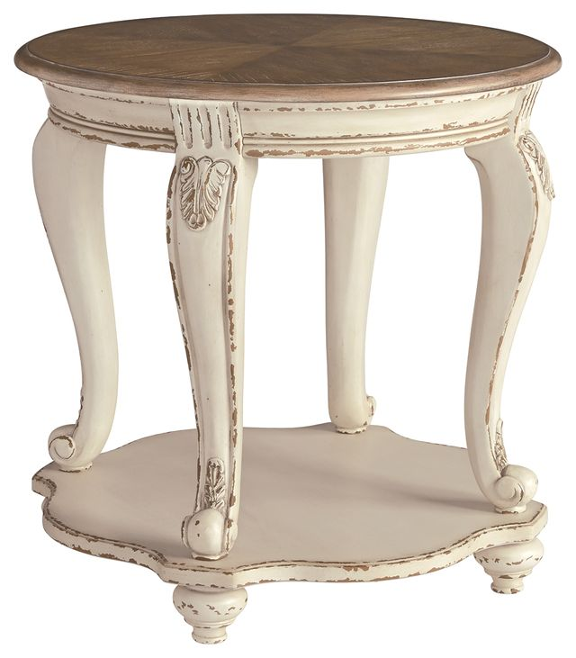 Signature Design by Ashley® Realyn White/Brown Round End Table-T743-6