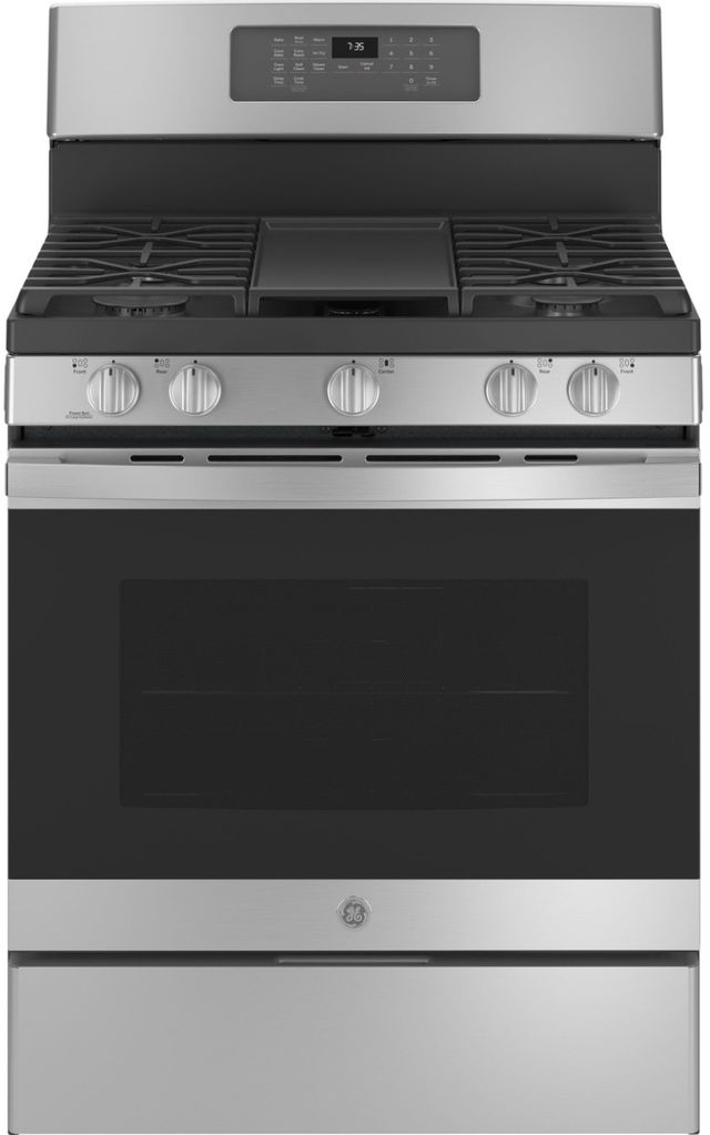 """GE® 30"""" Stainless Steel Free Standing Gas Range (S/D)-JGB735SPSS-SD"""
