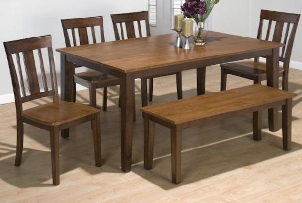 Jofran Inc. Kura Espresso and Canton Gold Rectangle Table Set-875-60-875-265KD-875-26KD