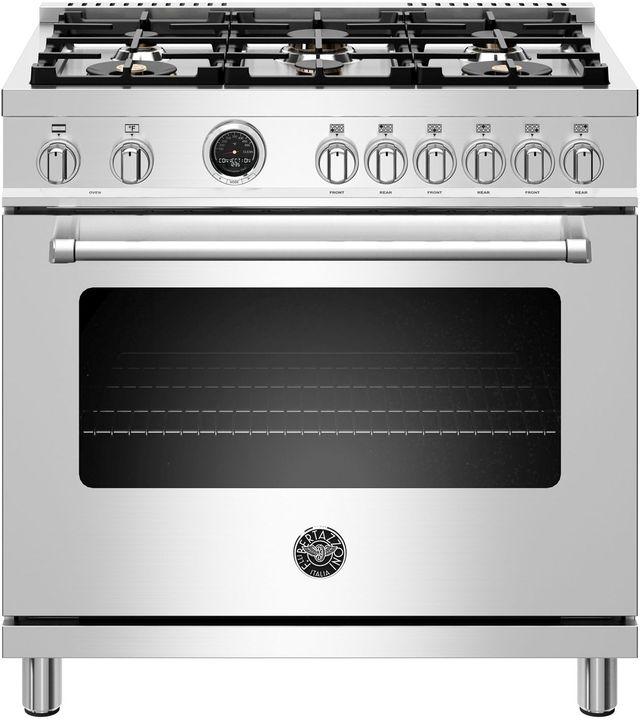 "Bertazzoni Master Series 36"" Stainless Steel Free Standing Dual Fuel Range-MAST366DFSXT"