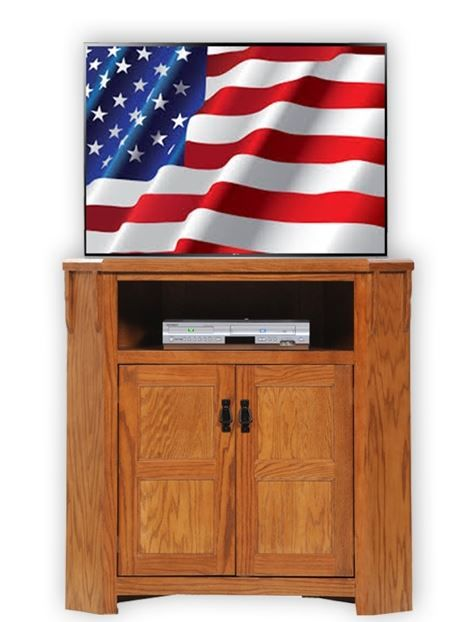 American Heartland Oak Tall Corner TV Stand-88734