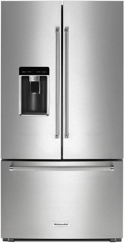 KitchenAid® 23.76 Cu. Ft. Stainless Steel Counter Depth French Door Refrigerator-KRFC604FSS