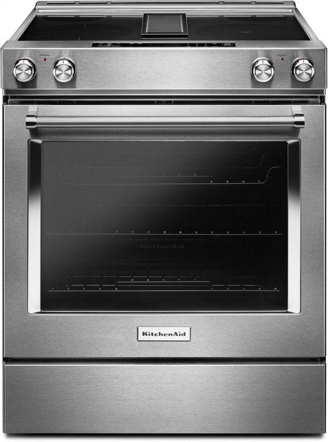 """KitchenAid® 30"""" Stainless Steel Slide In Electric Downdraft Range-KSEG950ESS"""