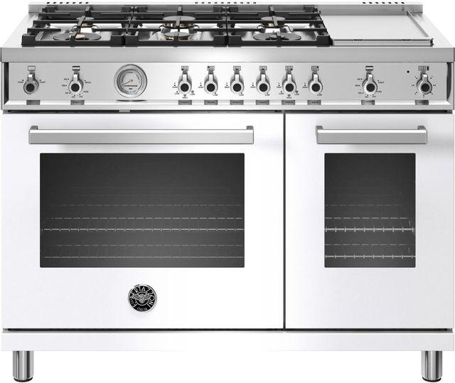 Cuisinière au gaz style Pro Bertazzoni® de 7,1 pi³ de 48 po - Blanc-PROF486GGASBIT