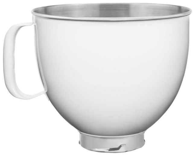 KitchenAid® White 5 Quart Colorfast Finish Stainless Steel Bowl-KSM5SSBWH