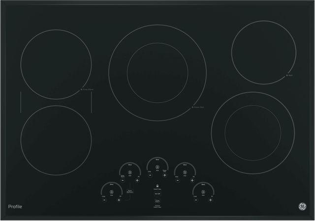 """GE Profile™ Series 30"""" Black Electric Cooktop-PP9030DJBB"""