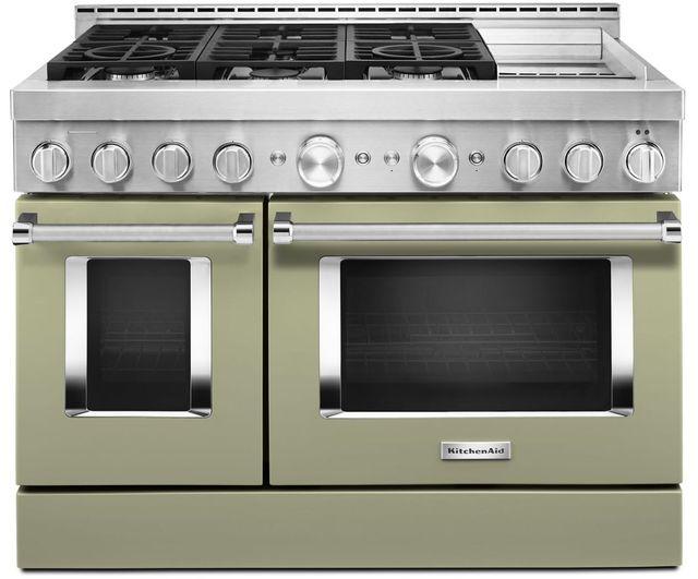 "KitchenAid® 48"" Avocado Cream Smart Commercial-Style Gas Range with Griddle-KFGC558JAV"