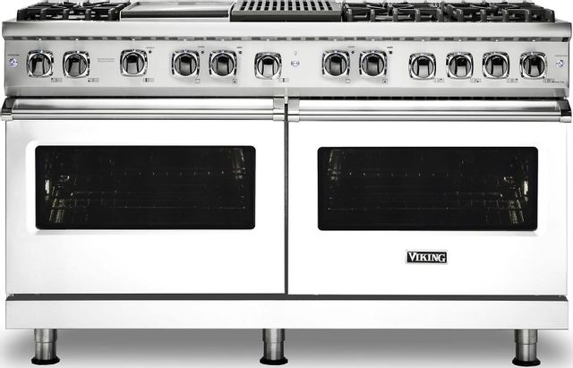 "Viking® Professional 5 Series 60"" Pro Style Dual Fuel Range-White-VDR5606GQWH"