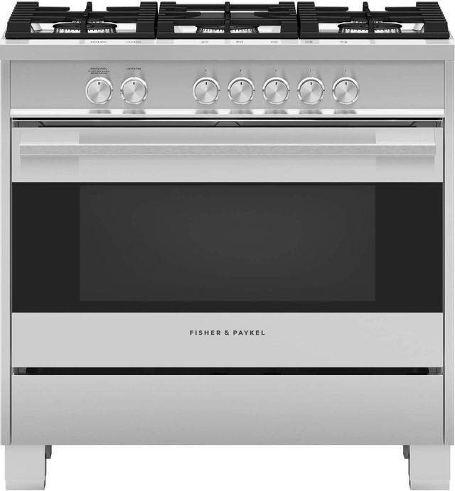 """Fisher Paykel 36"""" Free Standing Gas Range-Brushed Stainless Steel with Black Glass-OR36SDG4X1"""
