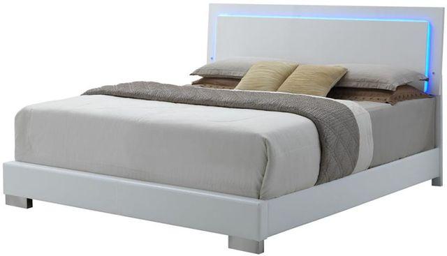 Coaster® Felicity Glossy White Lighted Eastern King Bed-203500KE