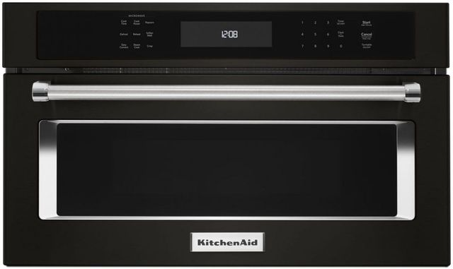 """KitchenAid® 29.75"""" Black Stainless Steel with PrintShield™ Finish Built In Microwave Oven-KMBP100EBS"""